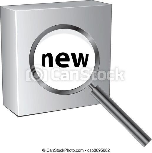 scatola, vetro, vettore, ingrandendo, 3d - csp8695082