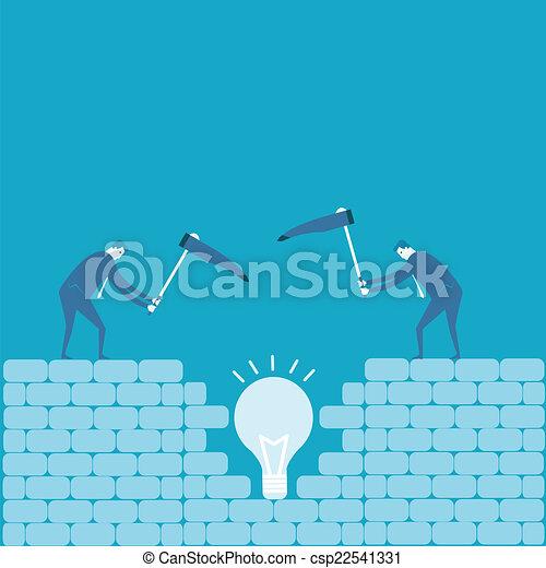 scavare, idea, uomo affari - csp22541331