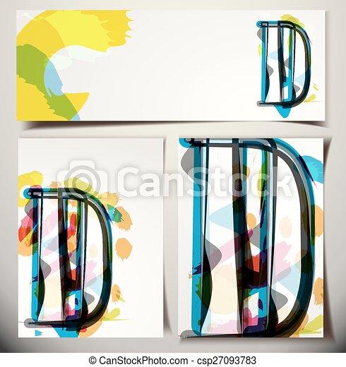 scheda, augurio, d, lettera, artistico - csp27093783