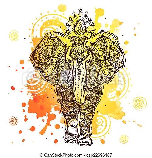 schizzo, elefante, illustrazione, acquarello, vettore - csp22696487