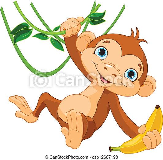scimmia, bambino, albero - csp12667198