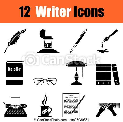 scrittore, set, icone - csp36030554