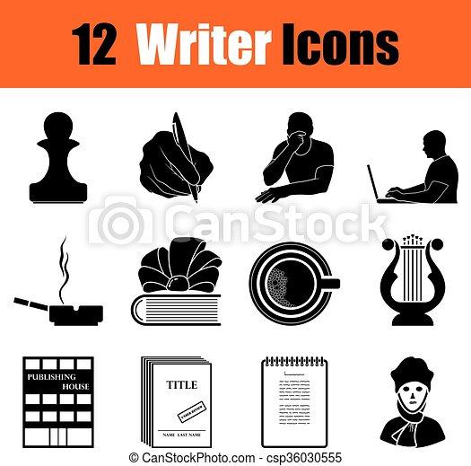 scrittore, set, icone - csp36030555