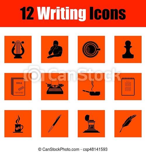 scrittura, set, icone - csp48141593