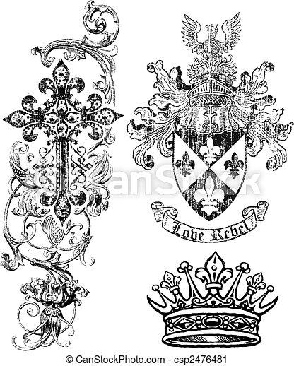 scudo, regalità, corona, croce, elemento - csp2476481