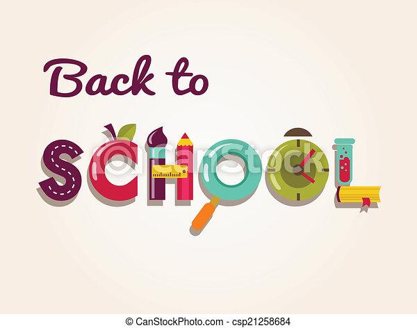 scuola, concetto, testo, -, indietro, icons., vettore, fondo - csp21258684
