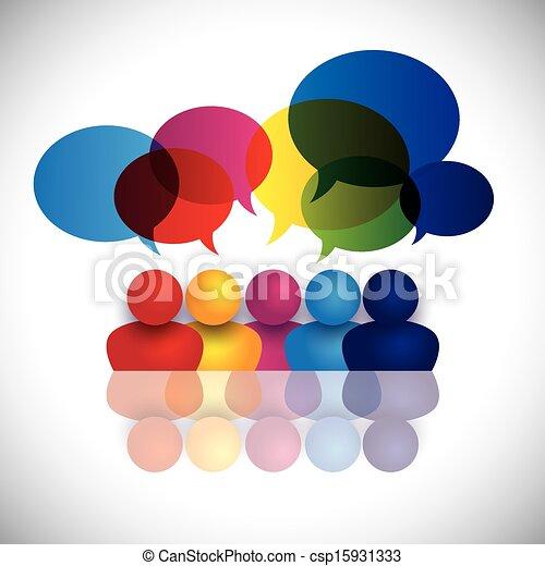 scuola, concetto, ufficio, bambini, parlare, vettore, riunione, o, personale - csp15931333