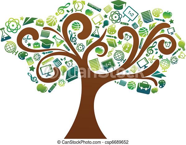 scuola, icone, albero, -, indietro, educazione - csp6689652