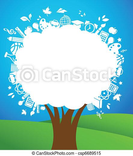 scuola, icone, albero, -, indietro, educazione - csp6689515