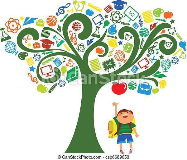 scuola, icone, albero, -, indietro, educazione - csp6689650