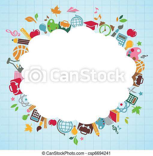 scuola, icone, -, indietro, fondo, educazione - csp6694241