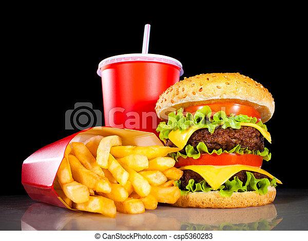 scuro, frigge, saporito, hamburger, francese - csp5360283