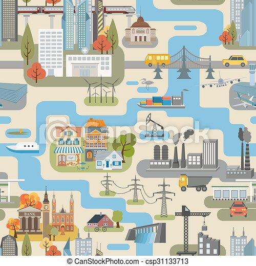 seamless, creator., grande, mappa urbana - csp31133713