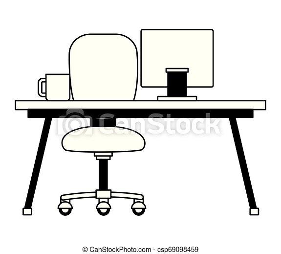Sedia Scrivania Ufficio Caffe Ufficio Tazza Laptop Illustrazione Vettore Fondo Sedia Scrivania Bianco Canstock