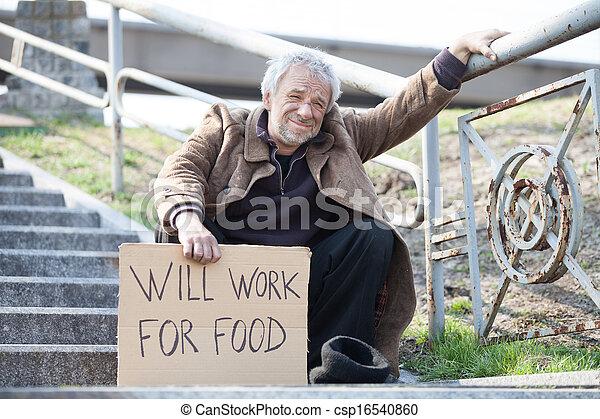 seduta, depresso, manifesto, lavoro, cibo., volontà, mentre, indossare, presa a terra, uomo, scale, sporco - csp16540860