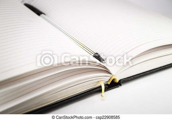 segnalibro, penna, quaderno, aperto - csp22908585