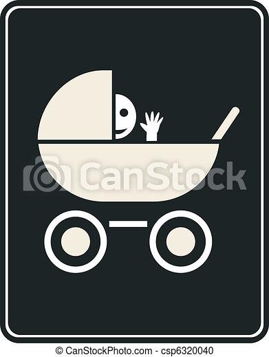 segno, carrozzina, vettore, -, icona - csp6320040