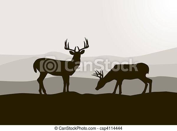 selvatico, cervo, silhouette - csp4114444