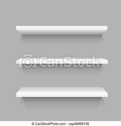semplice, bianco, tre, mensole - csp46869106