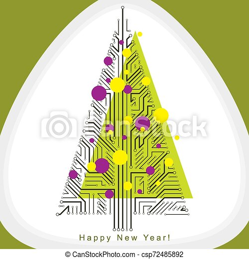 sempreverde, branches., creato, eco, albero, concept., wireframe, linee, theme., illustrazione, natale, vettore, collegato, tecnologia, amichevole, celebrazione - csp72485892