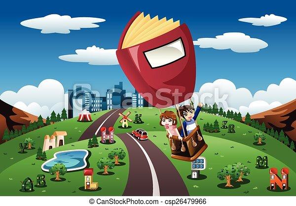 sentiero per cavalcate, balloon, bambini, aria calda - csp26479966