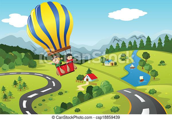 sentiero per cavalcate, caldo, bambini, balloon, aria - csp18859439