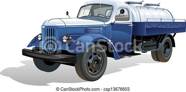 serbatoio, vettore, camion, retro - csp13676603