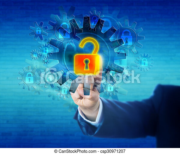 serratura, sicurezza, meccanismo, virtuale, sbloccando - csp30971207