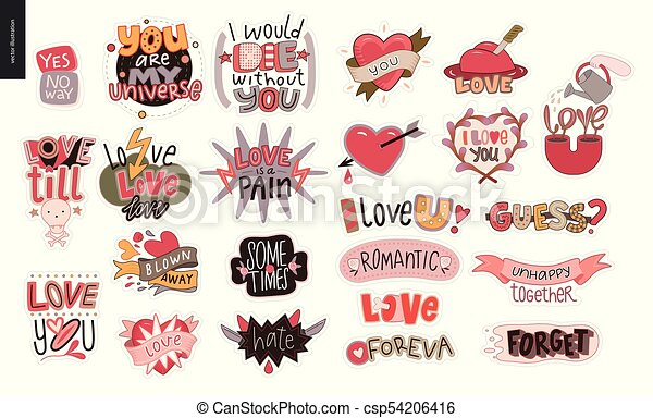 set, amore, contemporaneo, lettera, logotipo, girlie - csp54206416