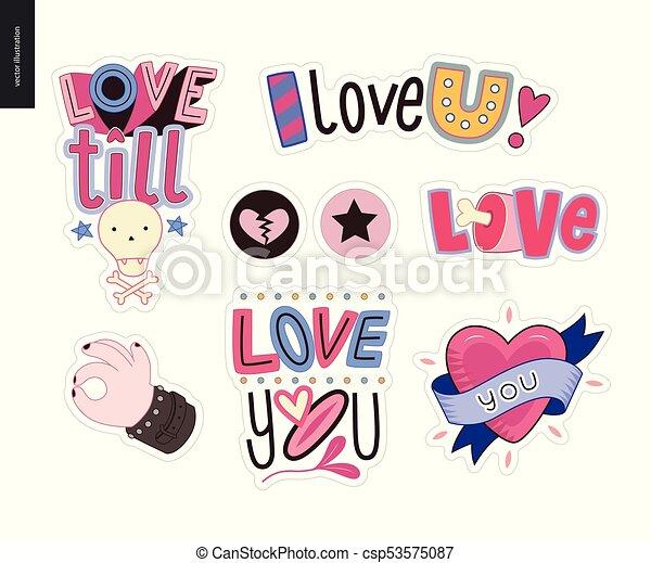 set, amore, contemporaneo, lettera, logotipo, girlie - csp53575087