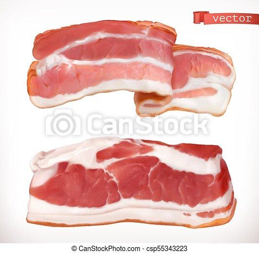 set, carne, bacon., realistico, vettore, fresco, 3d, icona - csp55343223