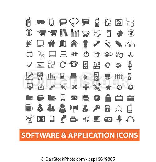 &, set, icone, domanda, vettore, software - csp13619865
