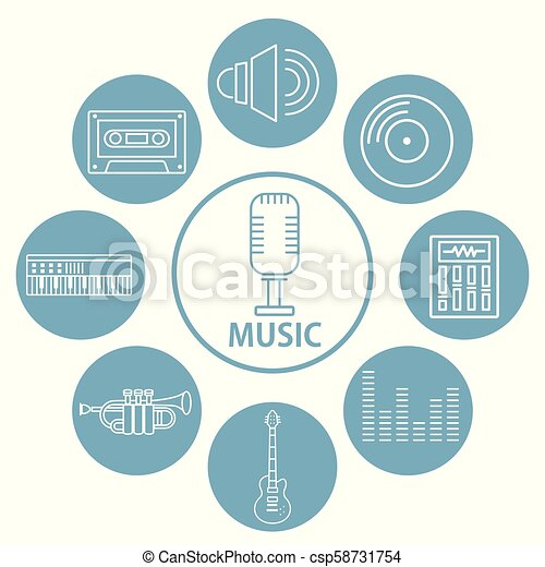set, musica, icone - csp58731754