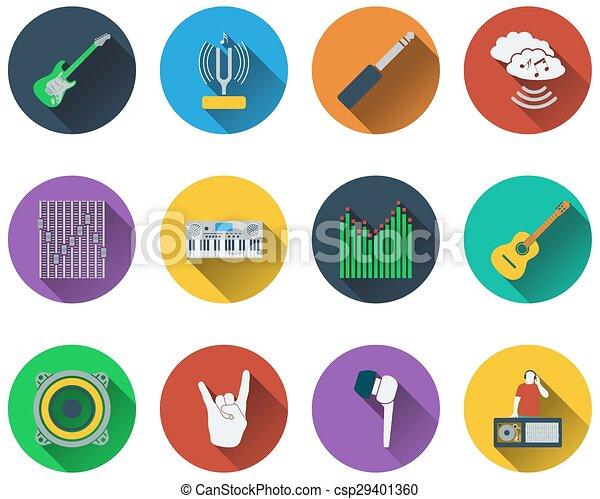 set, musicale, icone - csp29401360