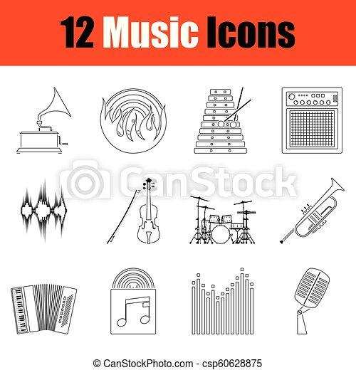 set, musicale, icons. - csp60628875