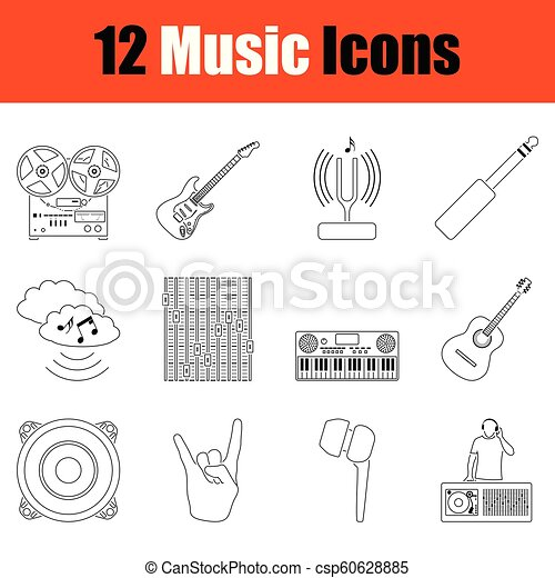 set, musicale, icons. - csp60628885