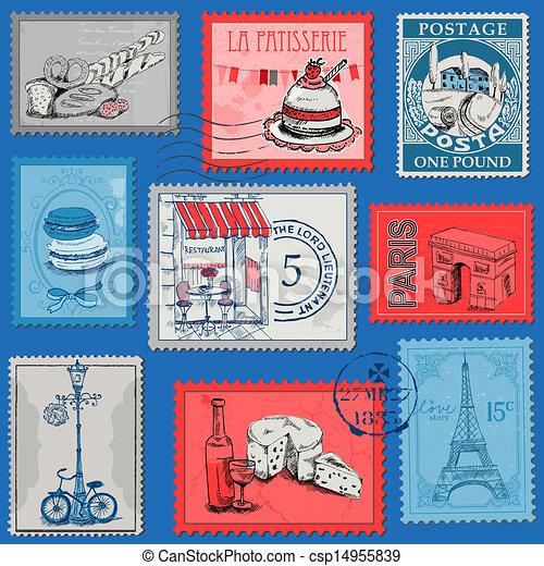 set, parigi, vendemmia, -, francia, francobolli, vettore, disegno, album - csp14955839