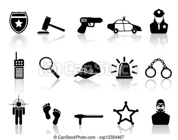set, polizia, icone - csp12354467
