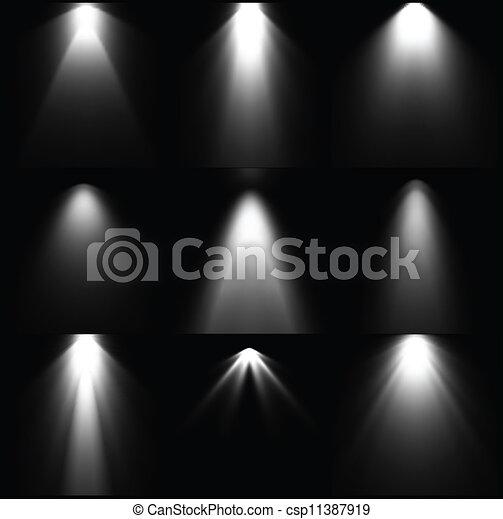 set, sources., luce, vettore, nero, bianco - csp11387919