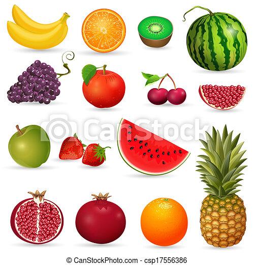 set, succoso, frutta, isolato - csp17556386
