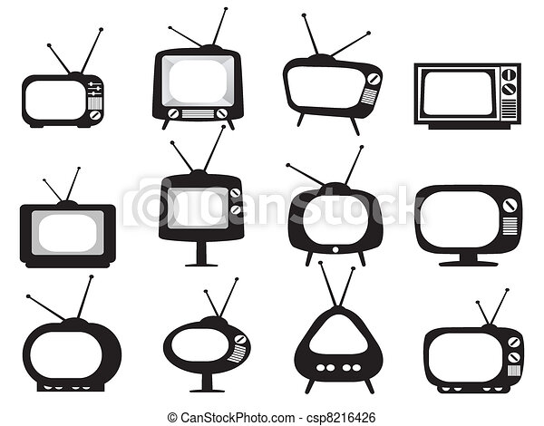 set tivù, nero, retro, icone - csp8216426