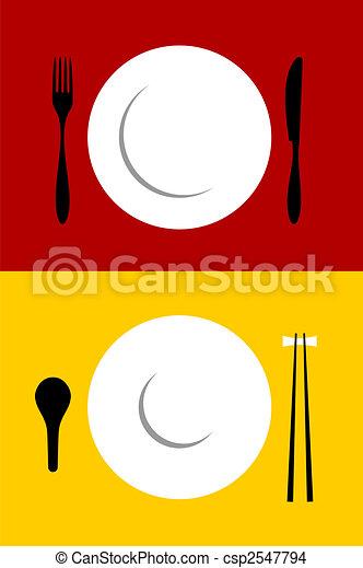 setting posto, sfondi, rosso giallo - csp2547794