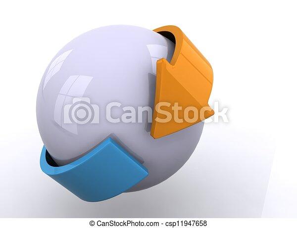 sfera, frecce, 3d - csp11947658