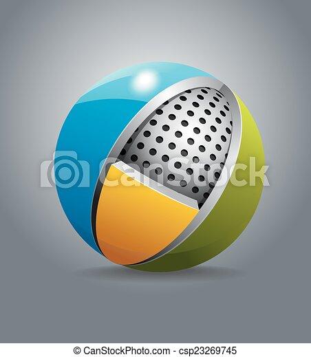 sferico, disegnare elemento - csp23269745