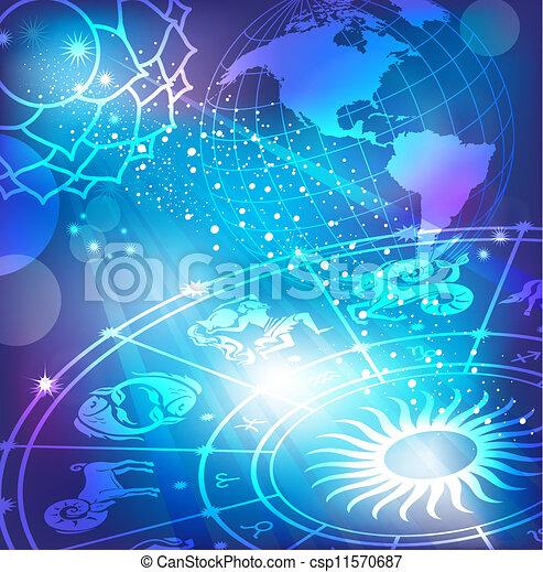 sfondo blu, oroscopo - csp11570687