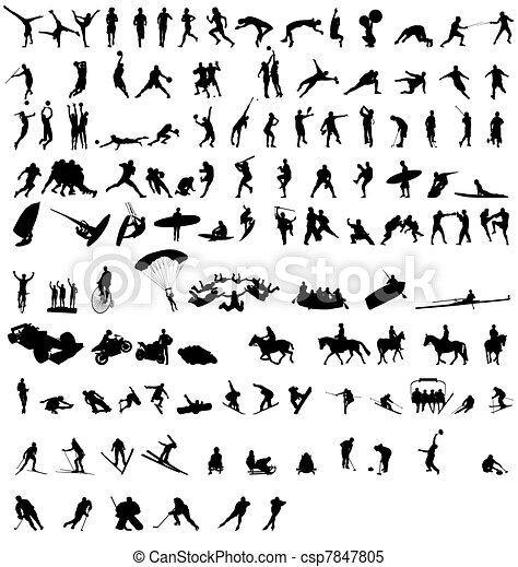silhouette, 2, sport, collezione - csp7847805