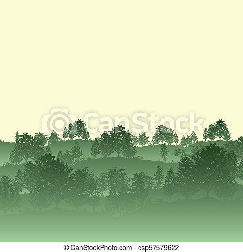 silhouette, albero, foresta, fondo - csp57579622