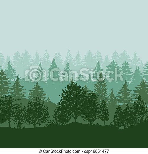 silhouette, albero, foresta, fondo - csp46851477