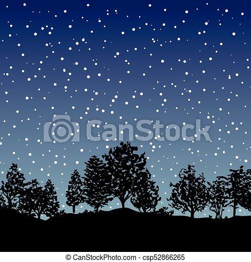 silhouette, albero, foresta, fondo - csp52866265