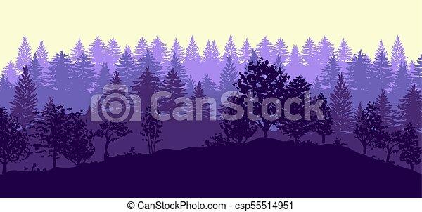 silhouette, albero, foresta, fondo - csp55514951